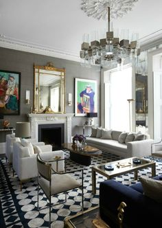 blues, black and grays, love the gold mirror against the gray walls