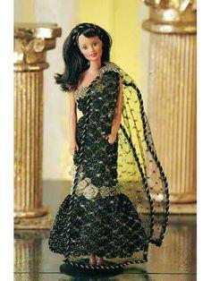 Free crochet barbie pattern Midnight Gold evening dress