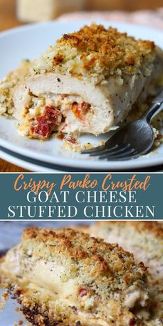 Goat Cheese Stuffed Chicken is delicious tender chicken breast filled with goat cheese garlic and sundried tomato mixture then topped with a crispy panko topping and baked in the oven to perfection! This is a great family dinner or entertaining recipe. Chicken And Goat Cheese Recipe, Goat Cheese Stuffed Chicken, Fried Goat Cheese, Goat Cheese Recipes, Chicken Recipes, Turkey Recipes, Dinner Recipes, Oven Chicken, Crispy Chicken