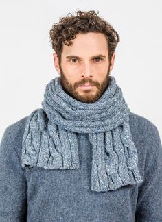 This natural colored cable and rib scarf from Fisherman Out of Ireland is made from Donegal fleck merino wool. Knitwear, Cable, Men Sweater, Otter, Centre, Ireland, Fashion, Cabo, Otters