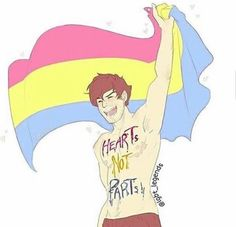 HECK YEAH #HeartsNotParts #PanPride!! (I'm DemiPan! This is awesome art. Beautiful style!)