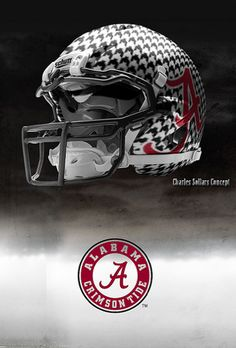 University of Alabama Crimson Tide - concept football helmet. Not sure if the texture works for Alabama specifically, but I like it in general Crimson Tide Football, Alabama Crimson Tide, College Football Helmets, Football Uniforms, Football Gear, Football Quotes, Alabama Football Helmet, Sports Uniforms, Football Stuff