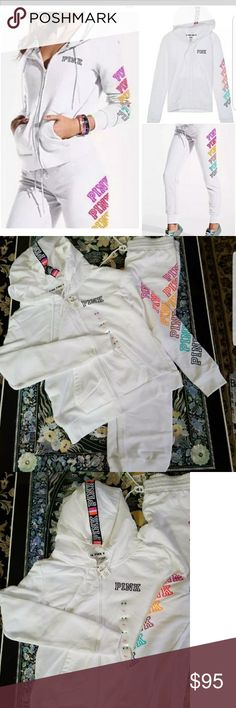 NWT VS PINK Rainbow Set M NO TRADES NEW WITH TAGS  PRICE IS FIRM HARD TO FIND SIZE:  MEDIUM TTS  Victoria's Secret PINK Jacket and pant set in white with rainbow lettering.  Great Summer/Spring look!    Smoke/pet free home.  Thanks for looking!  Feel free to check out my closet for bundling discount. PINK Victoria's Secret Jackets & Coats