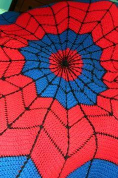 Shut the front door! Spiderman Afghan - Link to Free Crochet Pattern - Harris Sisters GirlTalk