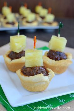 Barbecue meatballs and pineapple become bite-size in this recipe for Tropical Meatball Crescent Cups. Bring this delicious appetizer to your next game-day tailgate party!