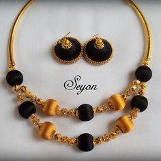Silk Thread Earrings Designs, Silk Thread Necklace, Thread Bangles Design, Beaded Necklace Patterns, Jewelry Patterns, Fabric Earrings, Silk Thread Bangles, Thread Jewellery, Bead Embroidery Jewelry