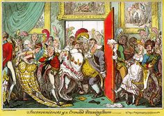 """The inconveniences of a crowded drawing room"", caricature by George Cruikshank, May 6th 1818"