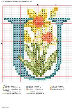 Alfabeto colori delicati con fiori: U