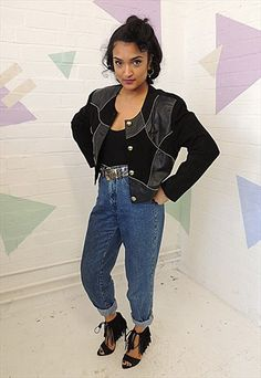 Vintage 80's Black & Gold Cropped Boxy Suede Jacket
