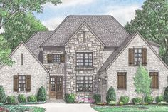 European Style House Plan - 4 Beds 3 Baths 3191 Sq/Ft Plan #34-231 Exterior - Front Elevation - Houseplans.com