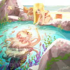 Ideas For Drawing Mermaid Kids Mermaid Kids, Siren Mermaid, Mermaid Cove, Mermaid Art, Mermaid Sketch, Mermaid Drawings, Disney Drawings, Mermaid Pictures, Winter Illustration