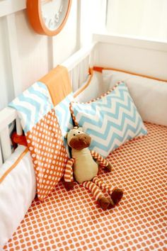 Posh Little Shop- Orange and Aqua Chevron  Baby Bedding