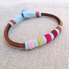leather and crochet bracelet by kjoo on Etsy, $45.00