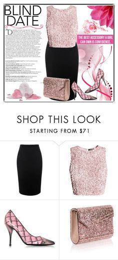 """""""Blind Date"""" by jeneric2015 ❤ liked on Polyvore featuring Alexander McQueen, Balmain, Moschino, Jimmy Choo and blinddate"""
