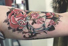 bird and teacup tattoo | Alice In Wonderland Teacup Tattoo Stoned-hitler: teacup tattoos
