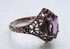 Stunning Victorian Art Nouveau Amethyst Sterling Silver Vintage Ring