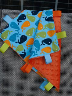 Sale- Baby boys Ribbon Blanket blankie lovie - made with Urban Zoologie - Whales