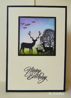 By Sandma - Background made using Distress and Adirondack Inks. Tree stamp by Crafty Individuals and finished using Memory Box Deer.