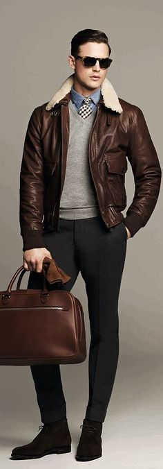Burberry - looser trousers for more masculine feel. Love the bomber jacket and aviators
