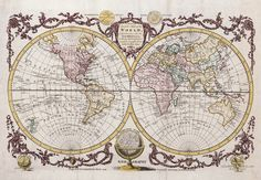 """Hand coloured world map with two hemispheres published by the British author George Augustus Baldwyn in 1782. """"A New and Accurate Map of the World, Comprehending all the New Discoveries, in Both Hemispheres, carefully brought down to the Present Time."""""""
