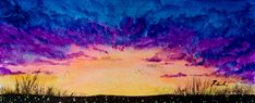 Sunset - watercolor painting #watercolorpainting #sunset