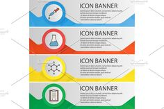 Chemical lab banner templates set. Infographic Elements