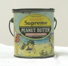 ANTIQUE MORRIS SUPREME 1lb. PEANUT BUTTER TIN PAIL WITH BAIL HANDLE AND LID   eBay 92.88 +7.35 SH SOLD...Maybe I'll sell mine.