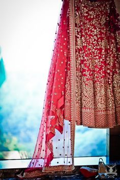 Bridal Details - Red Crimson Lehenga ad Dupatta with Scattered Sequin Work #wedmegood #red #lehengs #indianbride #indianwedding