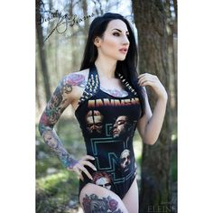 This awesome Rammstein bodysuit is designed by @deadlyseams and photographed by @emmamorenphotography I. Love. It. #eleine #model #rammstein #deadlyseams # ...