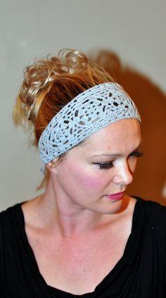Image detail for -Crochet Headband Hair Scarf 100% COTTON Headwrap Headcover Gray Grey ...
