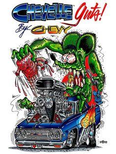 "T-Shirts Rat Fink ""Chevelle Guts"" White Tee Shirts 8121 Front Print Ed Roth Art, Photo Print, Rat Fink, Garage Art, Car Drawings, Big Daddy, Art Cars, Metal Signs, Cartoon Art"