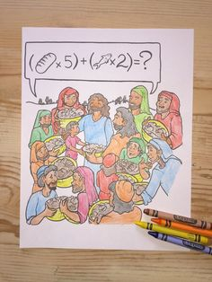FREE Jesus Feeds 5000 Coloring Page