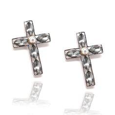 Pearl and Gemstone Cross Earrings ★ www.STARSDAZZLE.com ★