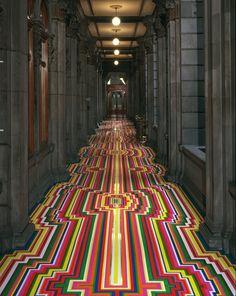 geometric tape floor by Jim Lambie