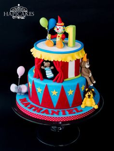Circus - Cake by Hazel Wong Cake Design Circus Theme Cakes, Themed Cakes, Fondant Cakes, Cupcake Cakes, Cupcakes, Clown Cake, Birtday Cake, Fairy Cakes, Cakes For Boys