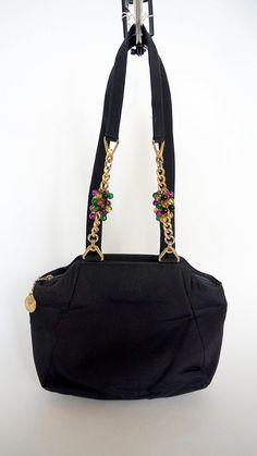 Gianni Versace nylon bag jewelry chain handle black nylon