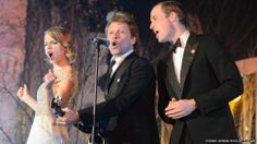 The Duke of Cambridge performs with Jon Bon Jovi and Taylor Swift