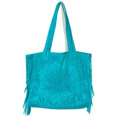 """New to our collection of bags, this multi-use bag is made from 100% Egyptian cotton towel and lined with cotton canvas. It is light and supple and has enough room for two towels and your other beach essentials, but can also be used as a city bag. It can be flat packed so it is perfect to take with you on your holidays. Add some pure summer color to your wardrobe with the """"Just Aqua"""" Poly Bag!"""