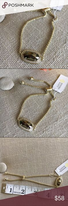 """Kendra Scott Eve Bracelet in Gold and Pyrite This Kendra Scott Eve Bracelet in Gold and Pyrite is new with tags (no box or bag but will ship in a box! ) Letting go of some of my KS collection but this bracelet is definitely one of my favorites! Would make an amazing Christmas gift! 14K Gold over Brass. Bracelet is adjustable and goes up to 8.88"""" at largest circumference. Kendra Scott Jewelry Bracelets"""
