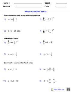 Printables Geometric Series Worksheet pinterest the worlds catalog of ideas infinite geometric series worksheets