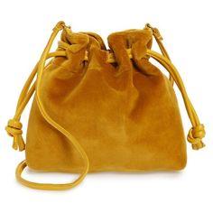 Women's Clare V. Petite Henri Velvet Bucket Bag found on Polyvore featuring bags, handbags, shoulder bags, golden rod, golden purse, drawstring handbags, bucket bag, clare v handbags and drawstring shoulder bag