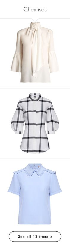 """""""Chemises"""" by liligwada ❤ liked on Polyvore featuring tops, blouses, ivory, long blouse, neck ties, white tie neck blouse, white blouse, bell sleeve blouse, lace up corset and plaid shirts"""