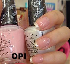 Nail polish / nail products, Health & Beauty, OPI nail polish genuine classic French pink nude color combination ~ H19 + L03 pearl silver paste to send French