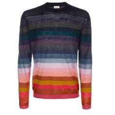 Paul Smith Men's Knitwear | Rainbow Stripe Linen and Silk-Blend Sweater