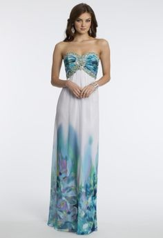 Strapless Chiffon Border Print Grecian Dress from Camille La Vie and Group USA