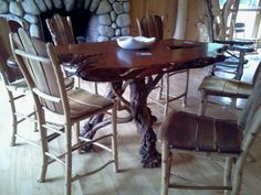 Adirondack Rustics Gallery by Barry Gregson  High Style Dining Table Lilac Base Redwood Top  Schroon... pinned with Pinvolve