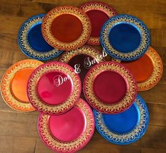 "13""henna decorated charger plate/wedding centerpiece/pooja thali/mehndi plate/henna party/wedding de"