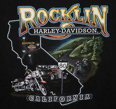 HARLEY DAVIDSON ROCKLIN, CA INTERSTATE-80 TSHIRT Men's XL Made-USA