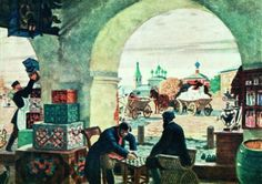 artist-kustodiev: Gostiny Dvor (In a merchant shout) via Boris...