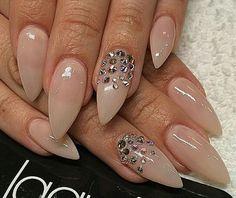 Beautiful nude stilettos with gemstones <3